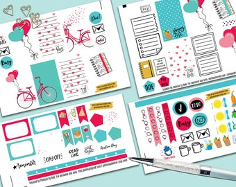 Bicycle Love Weekly Planner Sticker Set, CLASSIC Happy Planner Stickers, Weekly Set, Stickers, Printed, Cut, Valentine, San Valentine, Love