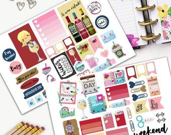 Wine Enthusiastic Girl Kawaii Theme Planner Weekly Sticker SMALL Kit, CLASSIC Happy Planner Sticker, Weekly Set, Stickers, Print, Cut, Wine