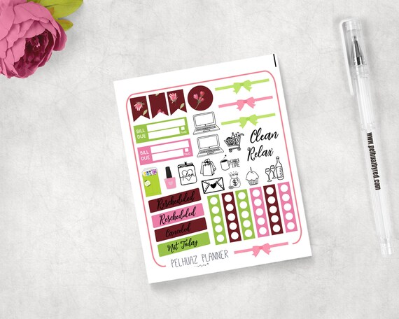 Relax X Due.Flowers Stickers Planner Stickers Any Planner Rescheduled Canceled Not Today Bill Due Clean Relax Add On Stickers Flower Flores