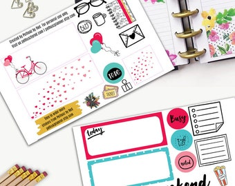 Bicycle Love Weekly Planner Sticker Set, MINI Happy Planner Stickers, Weekly Set, Stickers, Printed, Cut, Valentine, Candy, San Valentine