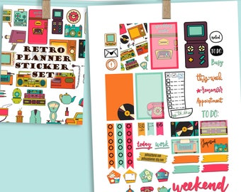 Retro 80 Theme Planner Weekly Sticker SMALL Kit, CLASSIC Happy Planner Sticker, Weekly Set, Stickers, Printed, Cut, Vintage, 80's, Retro