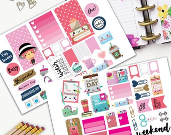 Proper Girl Pink Hair Kawaii Theme Planner Weekly Sticker SMALL Kit, CLASSIC Happy Planner Sticker, Weekly Set, Stickers, Printed, Cut