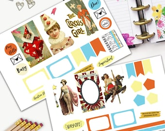 Carnival Vintage Theme Planner Weekly Sticker SMALL Kit, CLASSIC Happy Planner Sticker, Weekly Set, Stickers, Printed, Cut, Freak Show