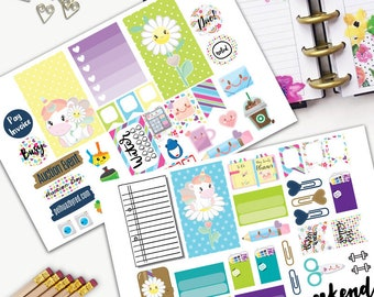 Unicorn Kawaii Theme Planner Weekly Sticker SMALL Kit, CLASSIC Happy Planner Sticker, Weekly Set, Stickers, Printed, Cut, Bamboo, Rainbow