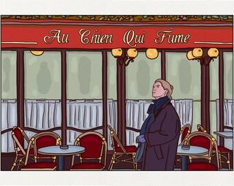 The dog who smokes - Illustration Paris - printed on fine art paper