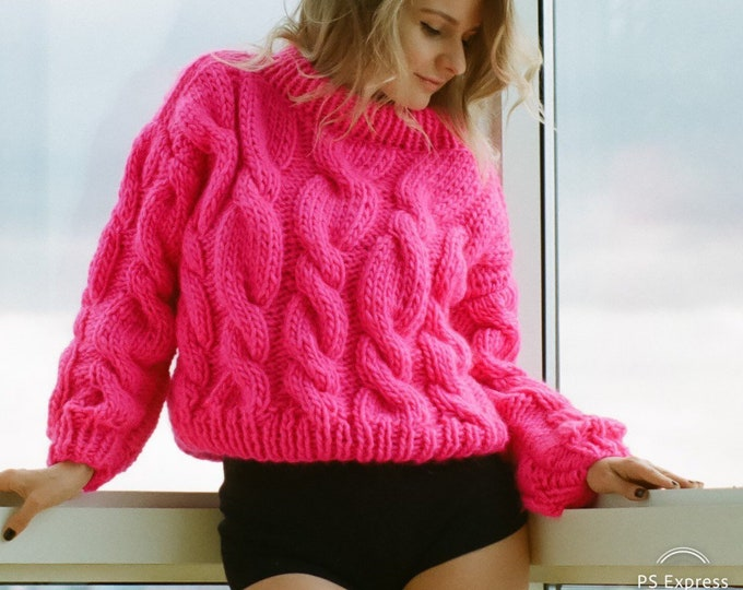 Cropped Braided Sweater. 100% Merino wool. Handmade in NYC, USA.