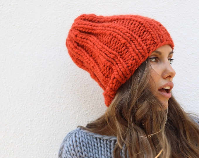 Chunky knit Beanie, 100% Merino wool. Handmade in NYC, USA.