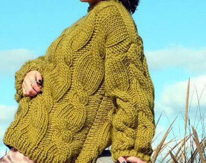 Oversized chunky sweater with braids. 100% Merino Wool. Handmade in NY, USA. One size.