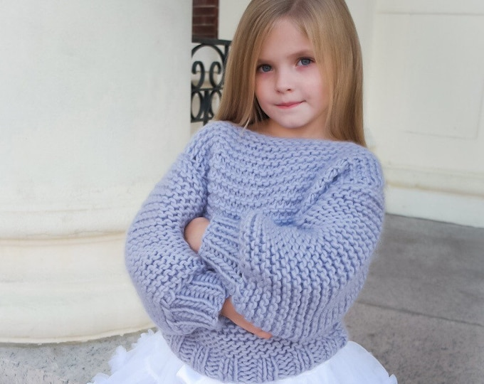 Mini chunky knit sweater. 100% Merino wool. Handmade in NY, USA. Toddler sizes.