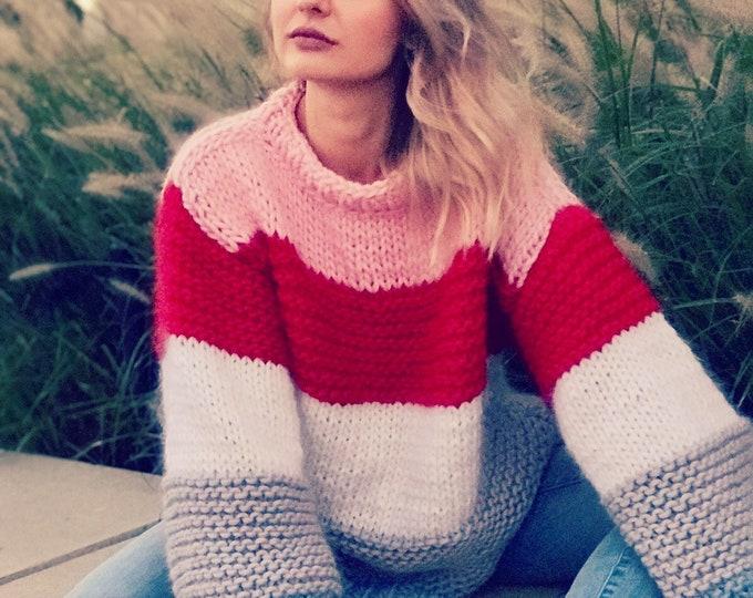 Stripped oversized chunky sweater. 100% Merino Wool. Handmade in NYC, USA.