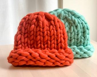 Chunky knit Beanie. 100% Merino Wool. Handmade in NYC.