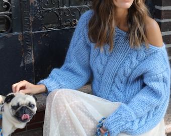 Braided chunky knit Sweater, 100% Merino wool. Handmade in NYC, USA.