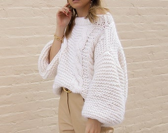 Chunky knit cable sweater. 100% Merino Wool. Handmade in NYC.
