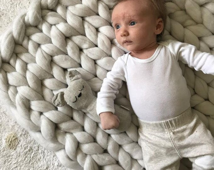 CHUNKY knit baby BLANKET. The finest 100% merino wool. handmade in the USA.