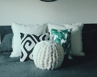 CHUNKY knit PILLOW case, HandMade in the USA, 100% merino wool, Shipping within 2-5 business days.