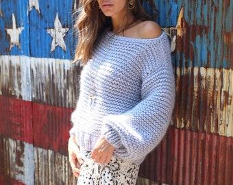Chunky knit Sweater. 100% Merino wool. Color: Seal. Handmade in NYC, USA.