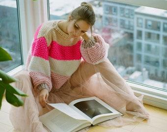 Striped oversized chunky sweater. 100% Merino Wool. Handmade in NYC, USA.