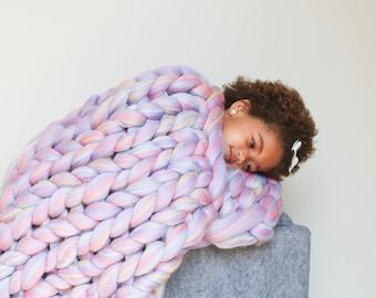 Chunky knit throw/blanket. 100% merino wool. Handmade in the USA.