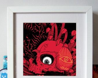 Eye Ballin – screenprint, wall art, poster art, wall decor, skull print, el tobe