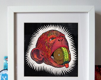 Monkey Brain – giclee print, wall art, poster art, wall decor, monkey print, el tobe