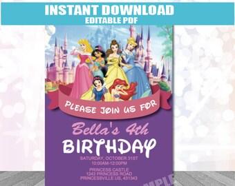 Princess Party Invitation INSTANT DOWNLOAD editable PDF Princess Invitation