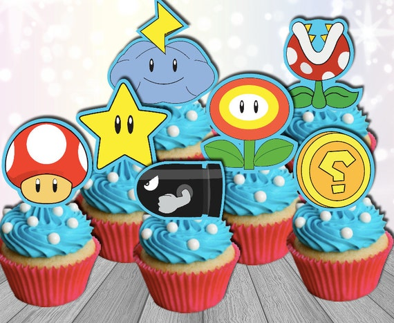 Awe Inspiring Super Mario Party Cupcake Toppers Printable Mario Birthday Etsy Funny Birthday Cards Online Fluifree Goldxyz