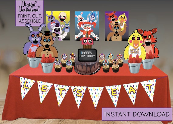 Five Nights At Freddys Party Supplies Digital Download Etsy