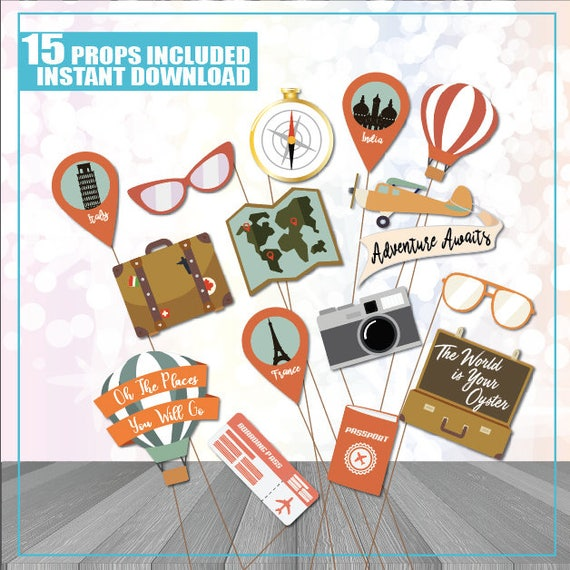 Travel Party Photo Booth Props Travel Photo Booth Props Hot Etsy