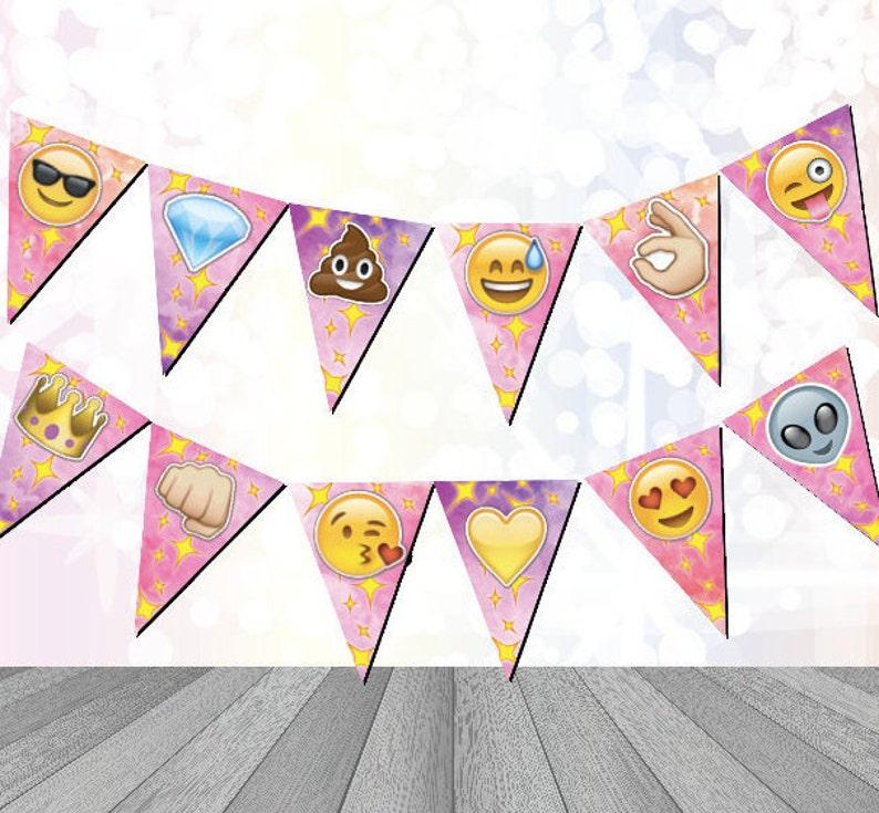 Emoji Birthday Banner Bunting Digital Download Printable