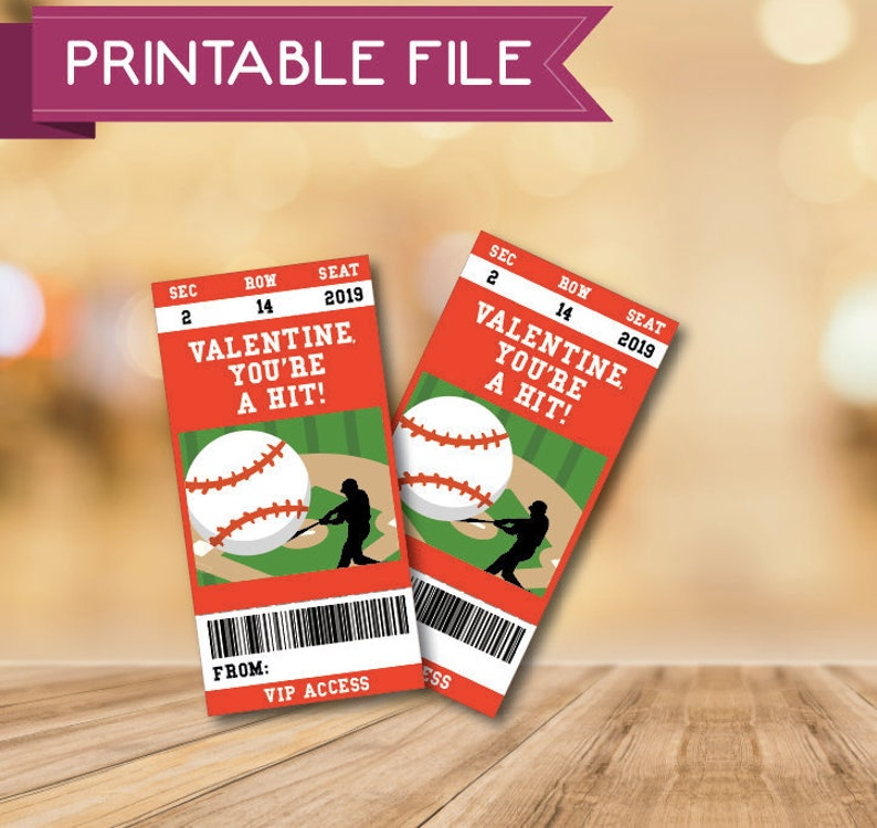 Baseball Valentines Card Printable Gift Tag Digital Download Valentines Printable Baseball Card