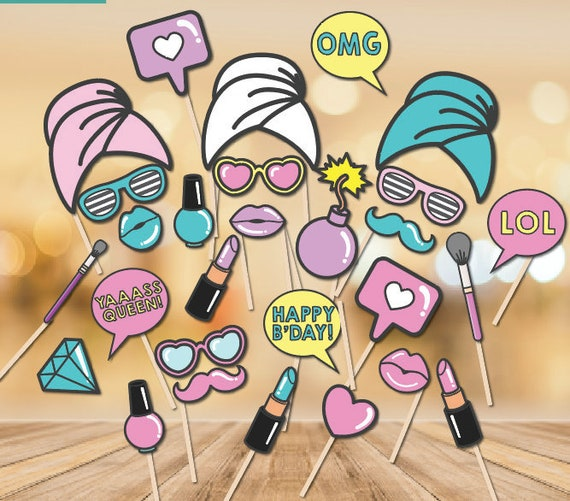 Spa Party Party Photo Booth props Print at home Beauty Make-Up Birthday  Party Make up Photobooth Props Day Spa Party Props