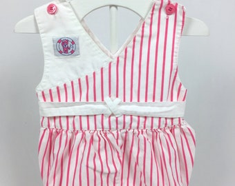 d46630d55 18 Months Pink   White Striped Romper with Pink Buttons at Shoulders