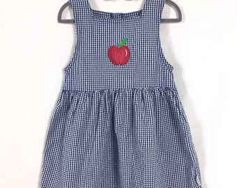 e95a374c7c0 Size 5 Navy Blue   White Gingham Sleeveless Dress with Red Ric Rak Trim