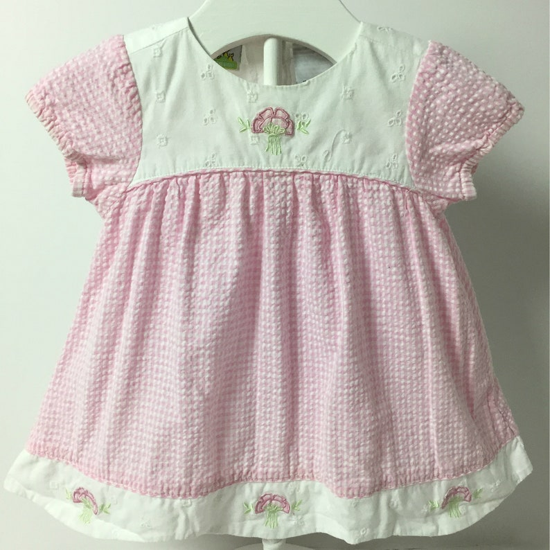 b766599f1 Vintage Light Pink Gingham and White Eyelet Dress for Baby