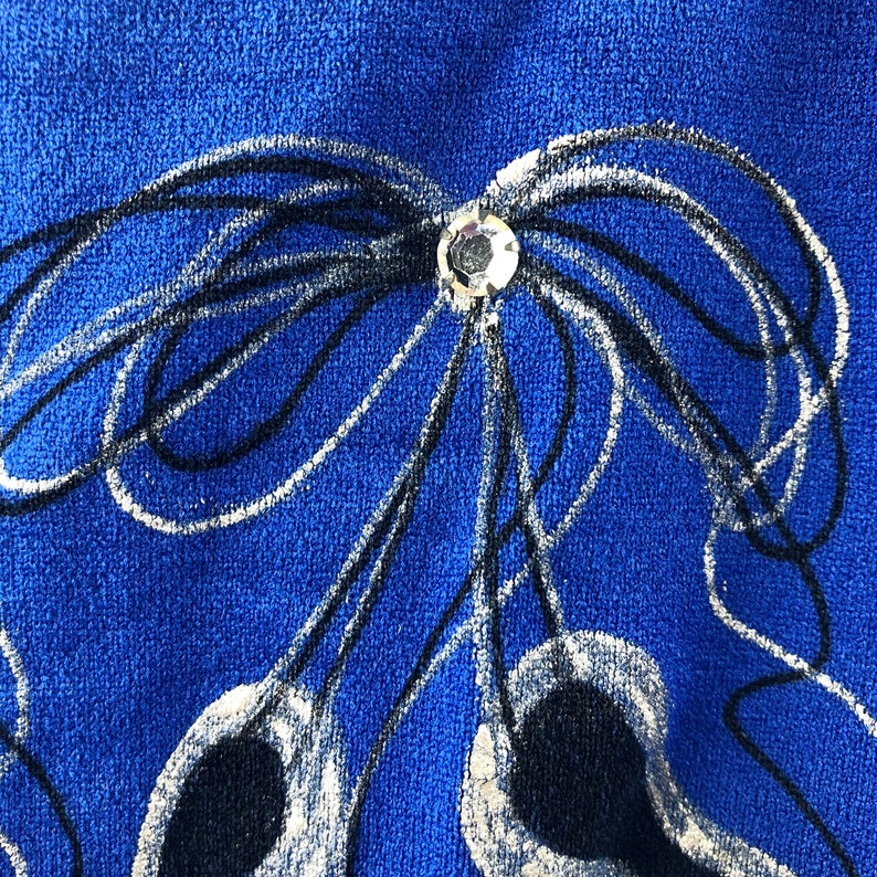 Vintage Size 7-10 Royal Blue 80/'s Short Sleeved Dance Leotard with Silver /& Black Ballet Slippers Tied Together with a Bow Large Rhinestone