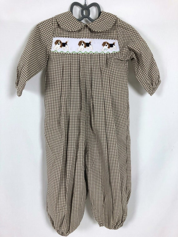 18 Month Smocked Brown, Beige and Olive Green Plai