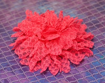 Flower Clip - bright pink lace flower - alligator hair clip - flower chain pattern embroidered lace - toddler, child, kid, adult