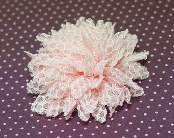 Flower Clip - light pink lace flower - alligator hair clip - flower chain pattern embroidered lace - toddler, child, kid, adult
