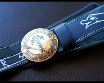"Leather belt with brass buckle ""Snake Uroboros"" (rune)"