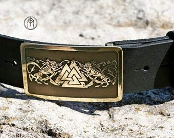 "Leather belt with brass buckle ""Gates of Valhalla"""