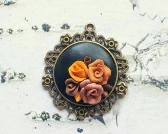 Flower Pendant * Bronze * steampunk * roses necklace