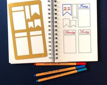Planner Stencil, Bullet Journal Stencil, Rectangles Stencil, bullet journal accessories - fits A5 journal & Midori Regular (Rectangles Gold)