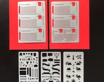 Set of 5 STENCILS, Bullet Journal stencil Bullet Stencils for , Filofax, Hobonichi,   Stencil for Erin Condren Life Planner