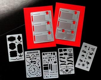 Set of 7 STENCILS, Bullet Journal stencil Bullet Stencils for , Filofax, Hobonichi,   Stencil for Erin Condren Life Planner