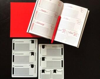 Set of 2 STENCILS, Bullet Journal stencil Bullet Stencils for , Filofax, Hobonichi,   Stencil for Erin Condren Life Planner