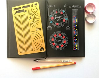 Bullet Journal Stencil, Monthy Tracker Stencil, Calendar Wheel Stencil, Habits Tracker Stencil - fits A5 journal & Midori Regular (Tracker)