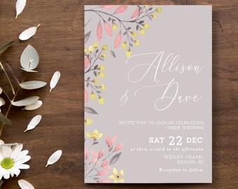 Wedding Invitation Template Floral Digital Invitation Set Printable INSTANT DOWNLOAD Peonies Flowers Editable diy Invitation rsvp WI089