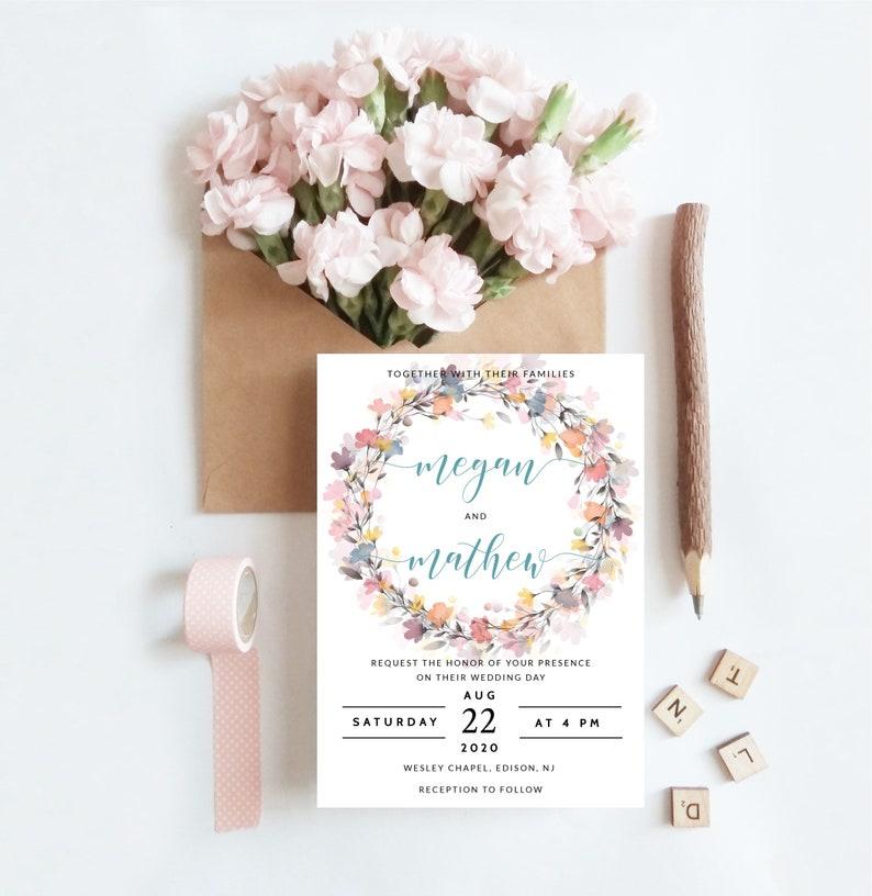 Wedding Invitation Peony Wedding Invitation Template Floral Invitation INSTANT DOWNLOAD Editable diy Digital Wedding Invitation Set WI134