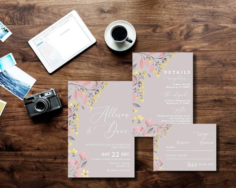 Wedding Invitation Template Set Printable INSTANT DOWNLOAD Blush Pink Floral Peonies Flowers Editable diy Invitation rsvp details WI078