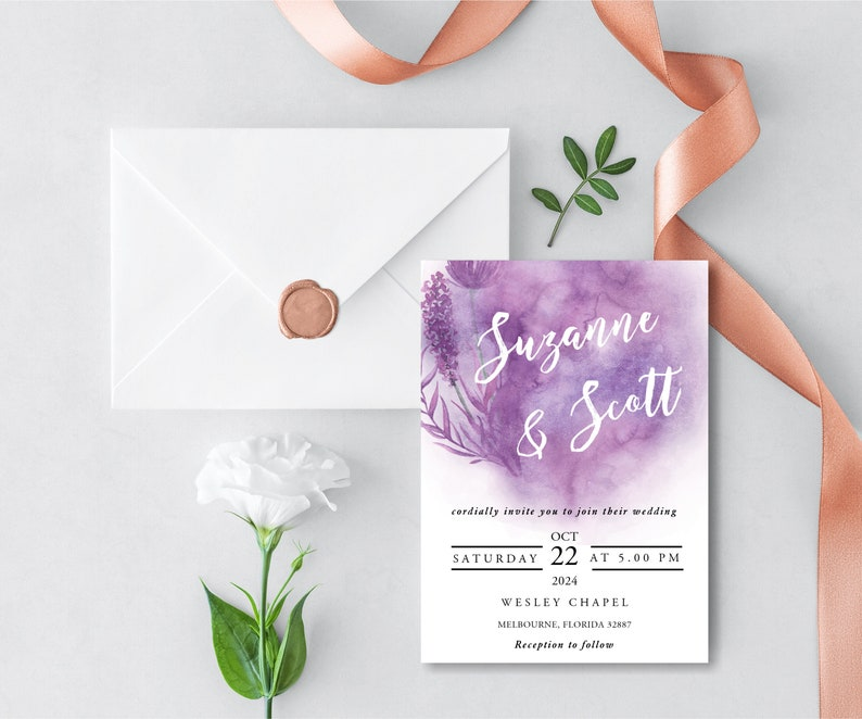 Wedding Invitation Template Watercolor Modern Purple INSTANT DOWNLOAD Editable diy Invitation Set Suite with rsvp and details card WI029